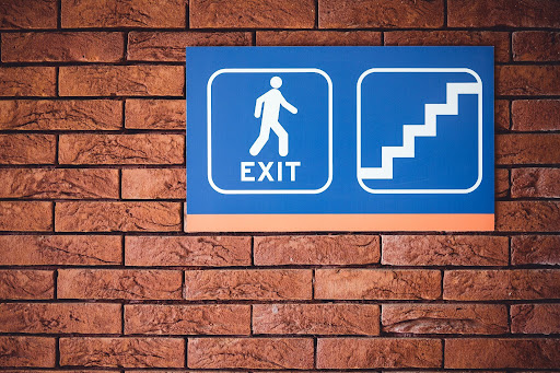 Exit sign on a wall